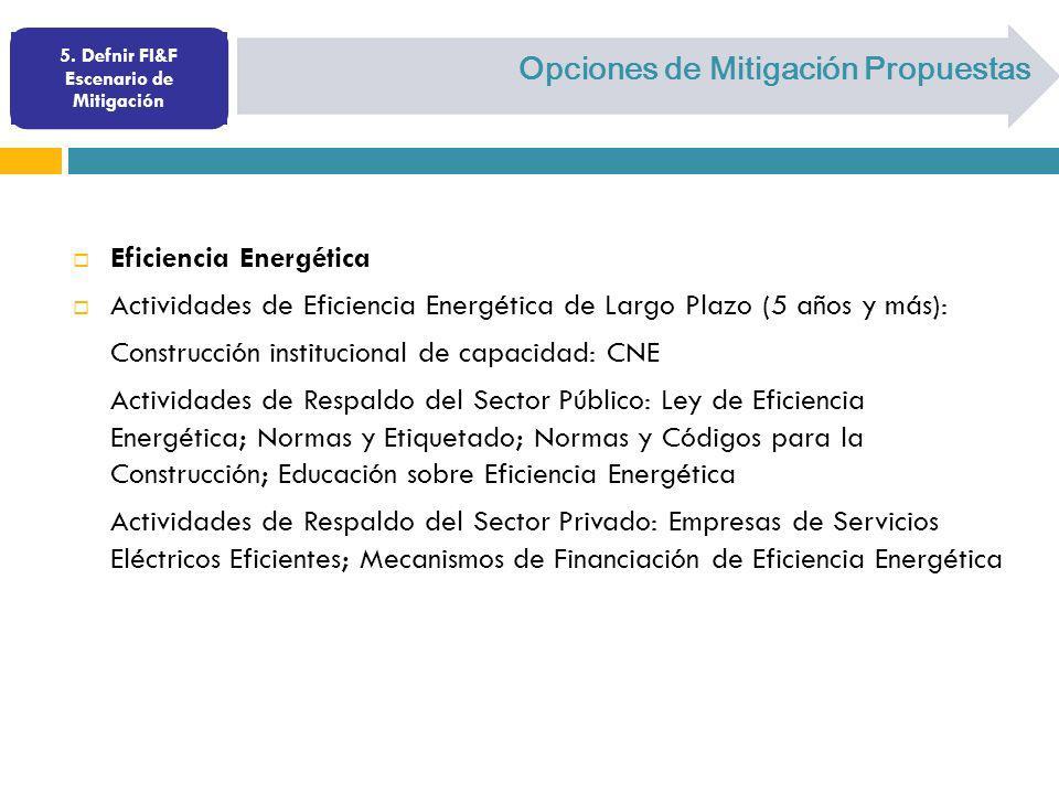 Opciones de Mitigación Propuestas Eficiencia Energética Actividades de Eficiencia Energética de Largo Plazo (5 años y más): Construcción institucional
