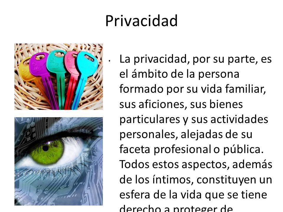 Privacidad La privacidad, por su parte, es el ámbito de la persona formado por su vida familiar, sus aficiones, sus bienes particulares y sus activida