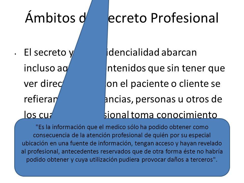 Ámbitos del Secreto Profesional El secreto y la confidencialidad abarcan incluso aquellos contenidos que sin tener que ver directamente con el pacient