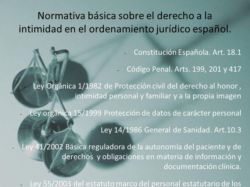 Constitución Española. Art. 18.1 Código Penal. Arts. 199, 201 y 417 Ley Orgánica 1/1982 de Protección civil del derecho al honor, intimidad personal y