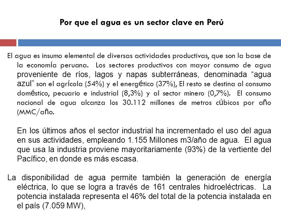 Por que el agua es un sector clave en Perú El agua es insumo elemental de diversas actividades productivas, que son la base de la econom í a peruana.