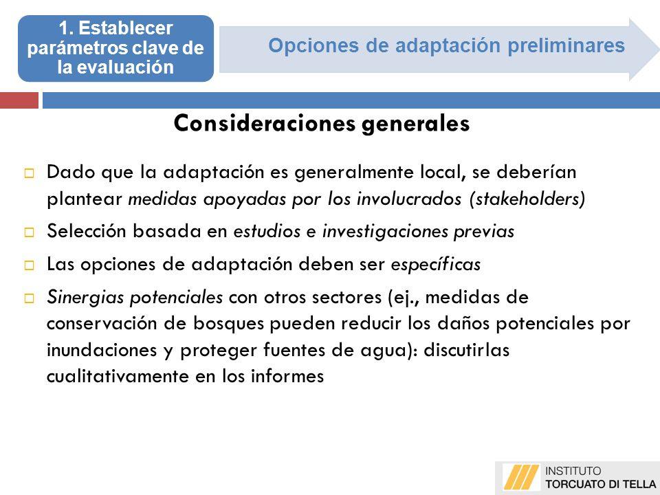Opciones de adaptación preliminares Dado que la adaptación es generalmente local, se deberían plantear medidas apoyadas por los involucrados (stakehol