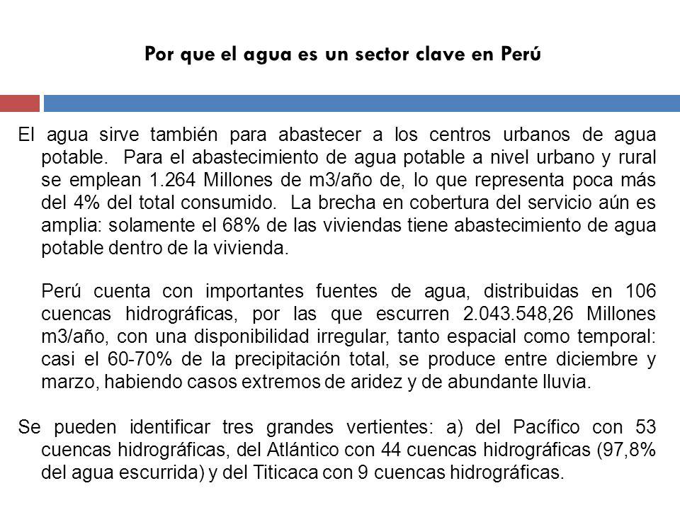 Por que el agua es un sector clave en Perú Al contrastar la disponibilidad del agua con la distribución de la población y las actividades productivas se encuentra que la mayor parte de la población y la producción está ubicada en la zona donde existe menor disponibilidad de agua.