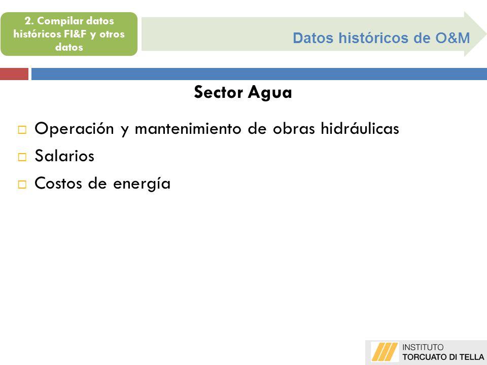 Datos históricos de O&M Sector Agua Operación y mantenimiento de obras hidráulicas Salarios Costos de energía 2. Compilar datos históricos FI&F y otro
