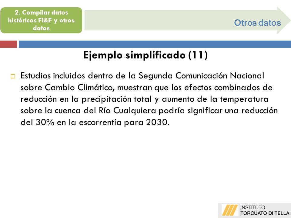 Otros datos Ejemplo simplificado (11) Estudios incluidos dentro de la Segunda Comunicación Nacional sobre Cambio Climático, muestran que los efectos c