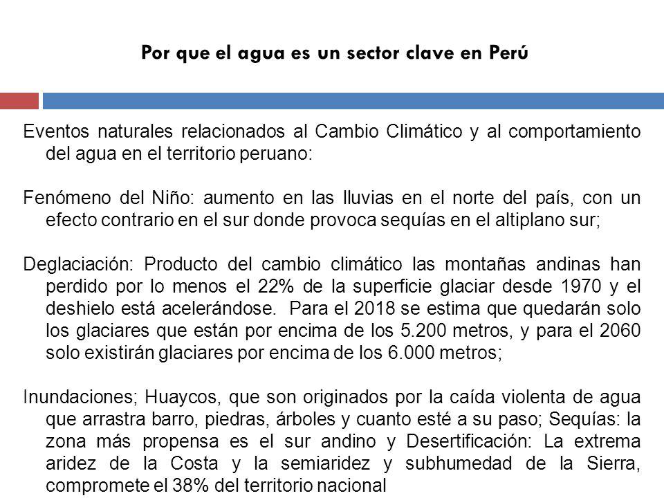 Por que el agua es un sector clave en Perú Sectores de la economía peruana vulnerables al impacto del CC sobre el agua: Agricultura: ocho cultivos de seguridad alimentaria: quinua, camote, maca, papa, maíz, fríjol, cañihua y yuca, representan el 81% de la producción agrícola total.