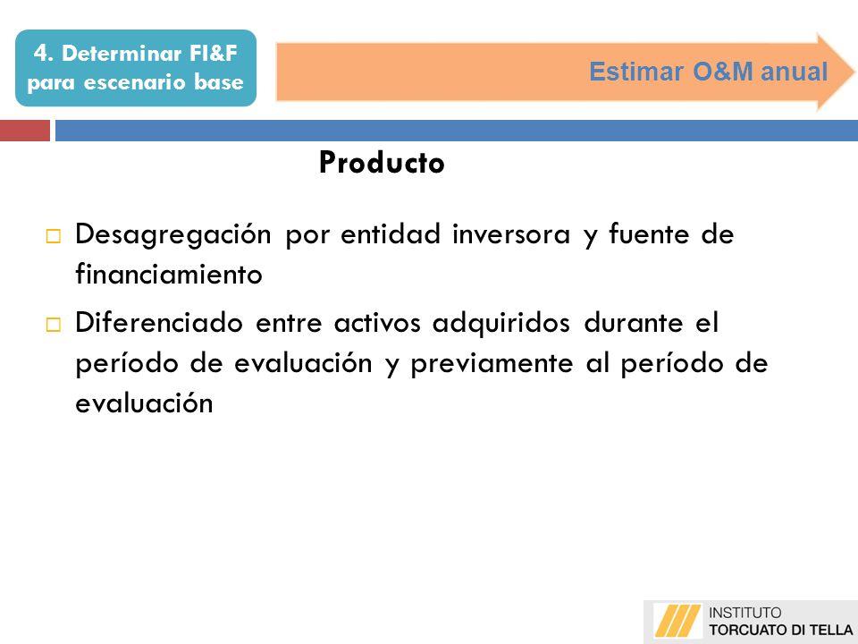 Estimar O&M anual Producto Desagregación por entidad inversora y fuente de financiamiento Diferenciado entre activos adquiridos durante el período de