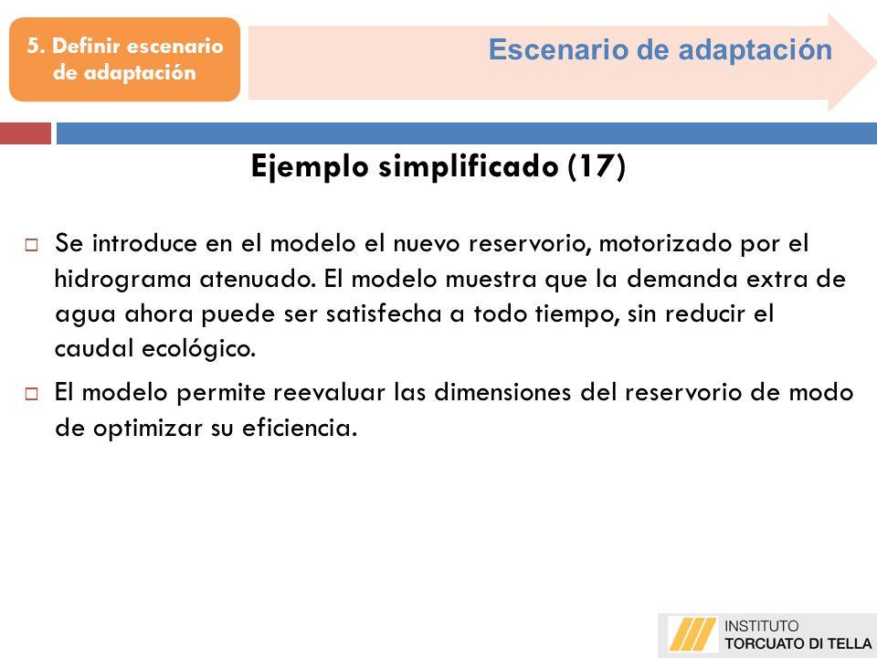Escenario de adaptación Se introduce en el modelo el nuevo reservorio, motorizado por el hidrograma atenuado. El modelo muestra que la demanda extra d