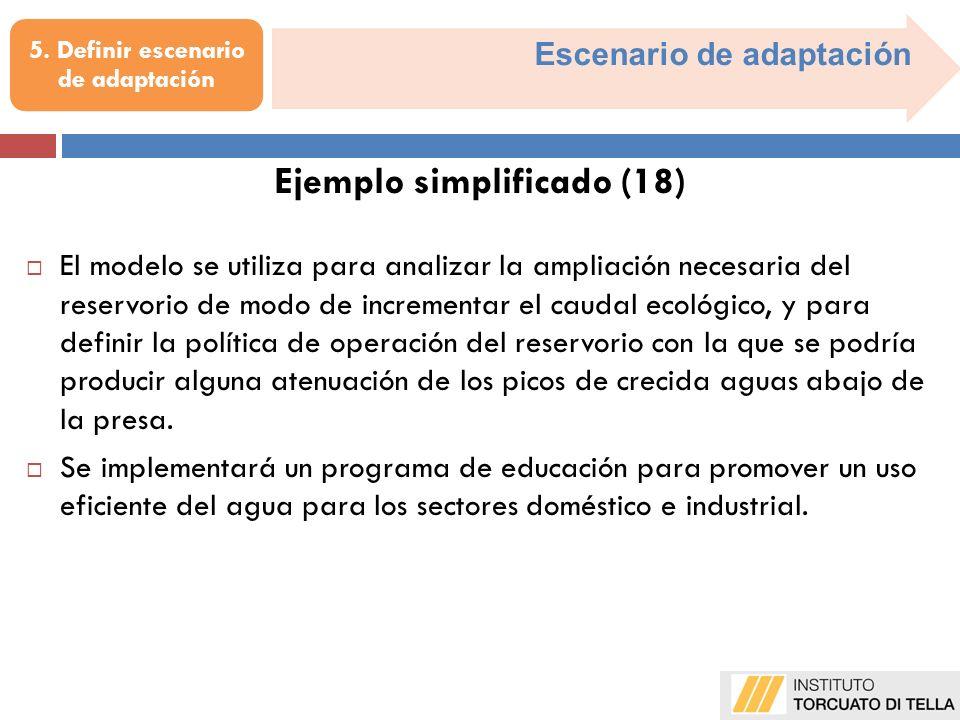 Escenario de adaptación El modelo se utiliza para analizar la ampliación necesaria del reservorio de modo de incrementar el caudal ecológico, y para d