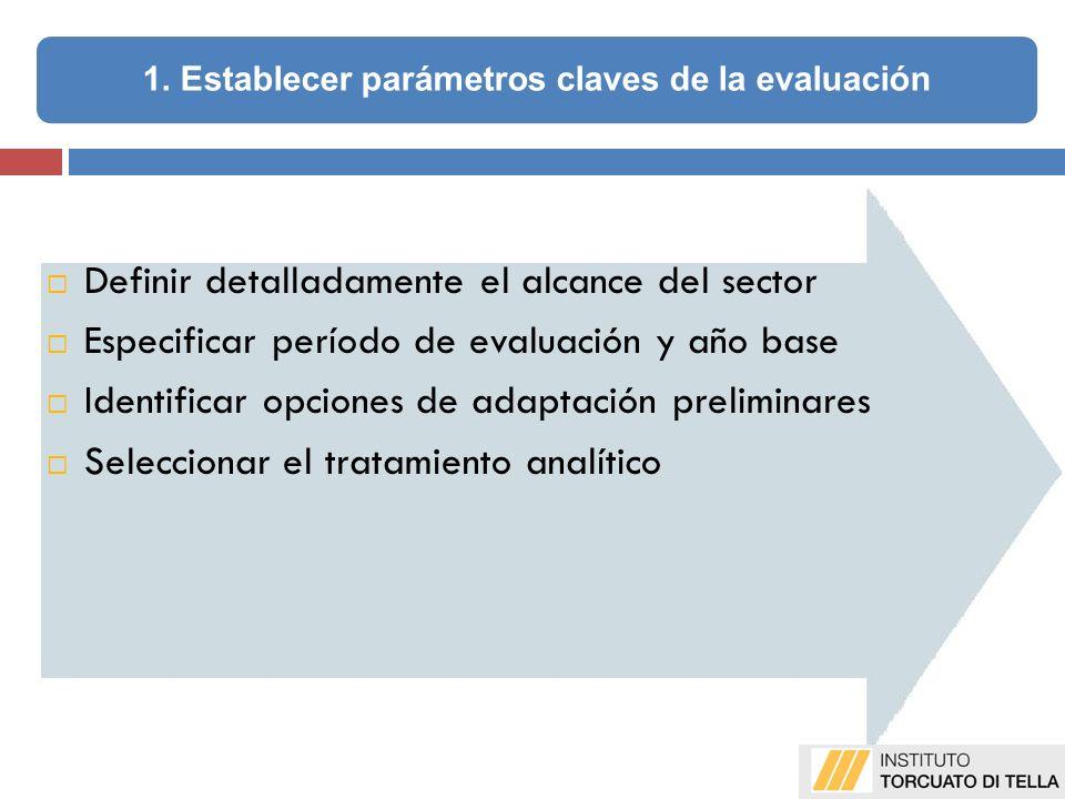 Definir detalladamente el alcance del sector Especificar período de evaluación y año base Identificar opciones de adaptación preliminares Seleccionar el tratamiento analítico