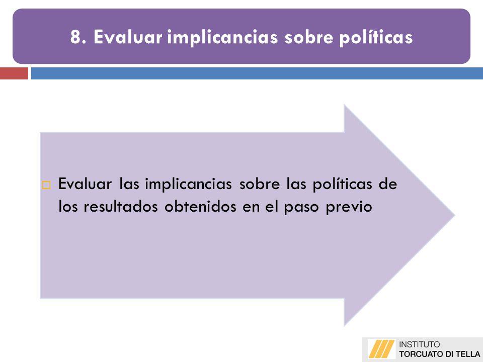 Evaluar las implicancias sobre las políticas de los resultados obtenidos en el paso previo 8. Evaluar implicancias sobre políticas