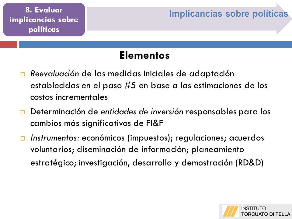 Implicancias sobre políticas 8. Evaluar implicancias sobre políticas Reevaluación de las medidas iniciales de adaptación establecidas en el paso #5 en