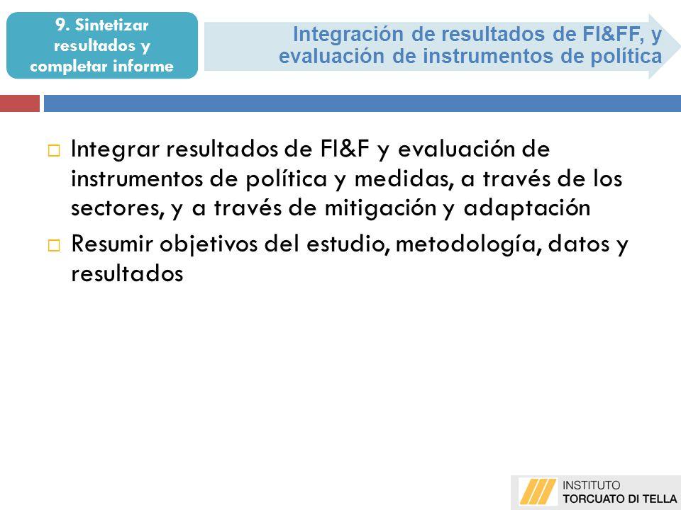 Integración de resultados de FI&FF, y evaluación de instrumentos de política 9. Sintetizar resultados y completar informe Integrar resultados de FI&F