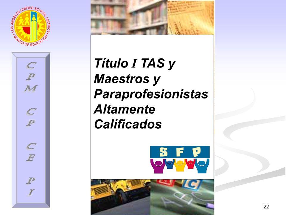 22 Título I TAS y Maestros y Paraprofesionistas Altamente Calificados