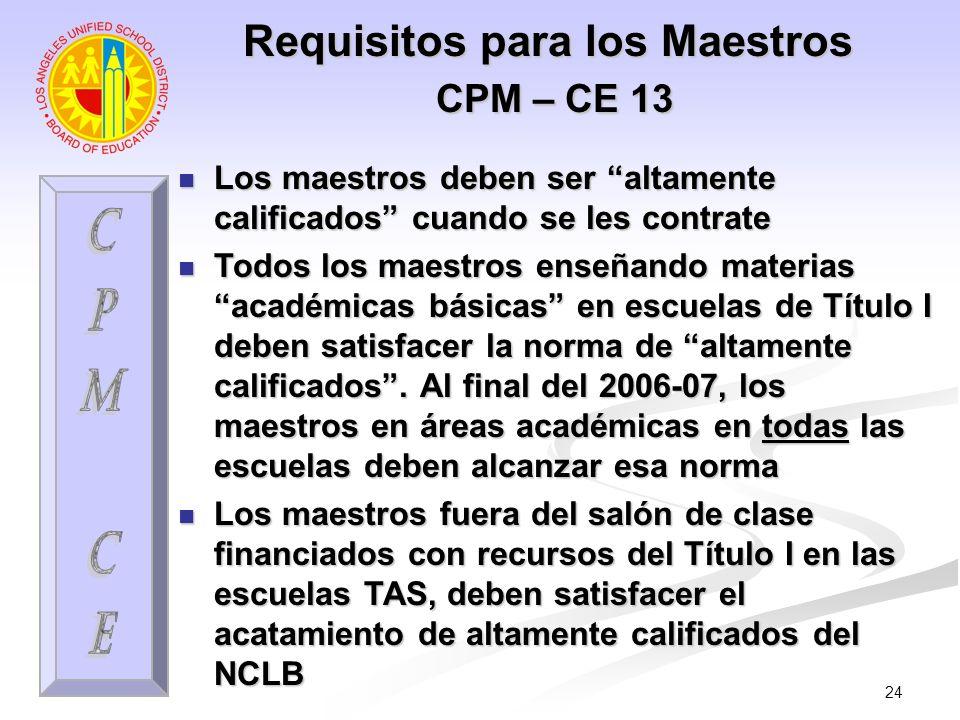 24 Requisitos para los Maestros CPM – CE 13 Los maestros deben ser altamente calificados cuando se les contrate Los maestros deben ser altamente calif