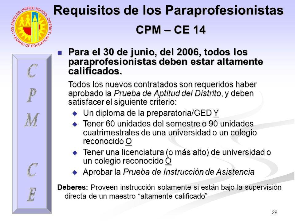 28 Requisitos de los Paraprofesionistas CPM – CE 14 Para el 30 de junio, del 2006, todos los paraprofesionistas deben estar altamente calificados. Par
