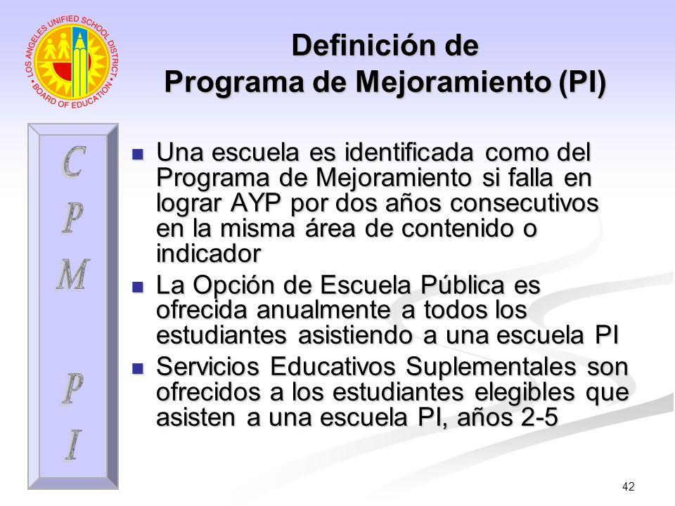 42 Definición de Programa de Mejoramiento (PI) Una escuela es identificada como del Programa de Mejoramiento si falla en lograr AYP por dos años conse