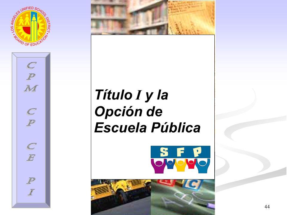 44 Título I y la Opción de Escuela Pública