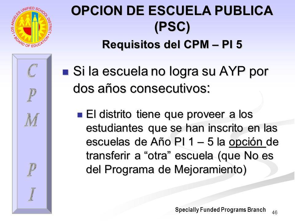 46 OPCION DE ESCUELA PUBLICA (PSC) Requisitos del CPM – PI 5 Si la escuela no logra su AYP por dos años consecutivos : Si la escuela no logra su AYP p