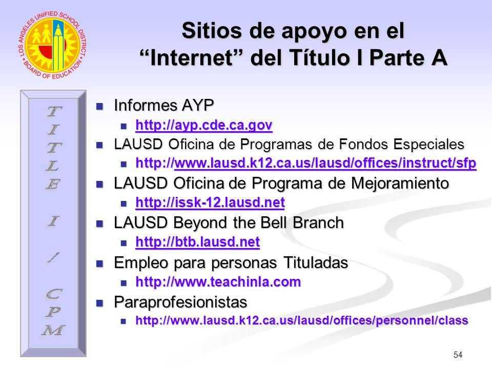 54 Sitios de apoyo en el Internet del Título I Parte A Informes AYP Informes AYP http://ayp.cde.ca.gov http://ayp.cde.ca.gov http://ayp.cde.ca.gov LAU