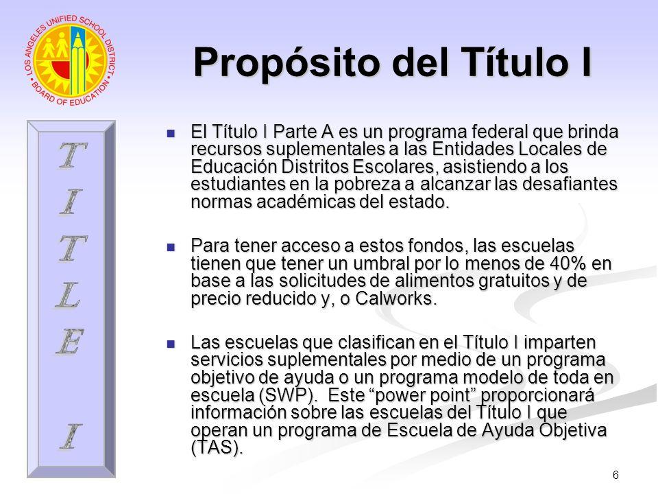 6 Propósito del Título I El Título I Parte A es un programa federal que brinda recursos suplementales a las Entidades Locales de Educación Distritos E