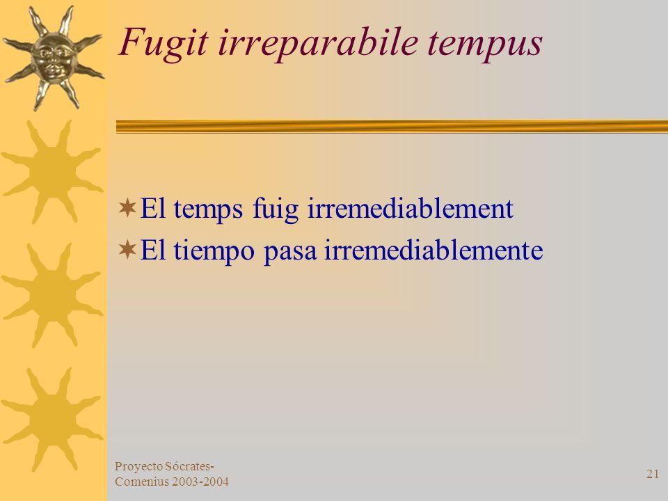 Proyecto Sócrates- Comenius 2003-2004 21 Fugit irreparabile tempus El temps fuig irremediablement El tiempo pasa irremediablemente