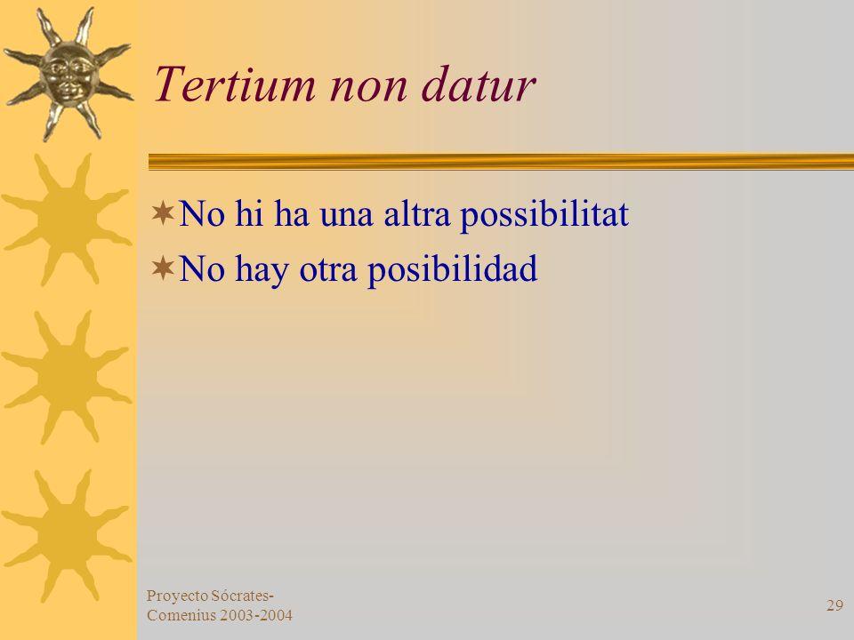 Proyecto Sócrates- Comenius 2003-2004 29 Tertium non datur No hi ha una altra possibilitat No hay otra posibilidad