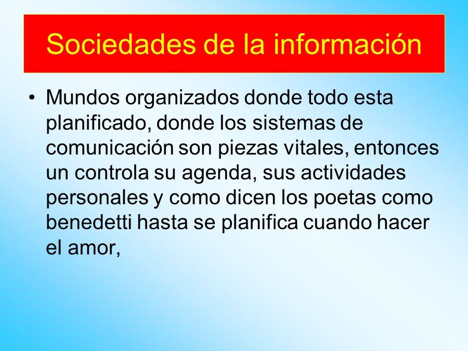 Sociedad de la información también surgen con el uso e innovaciones intensivas de las tecnologías de la información y las comunicaciones, donde el incremento en la transferencia de información, modificó en muchos sentidos la forma en que se desarrollan muchas actividades en la sociedad moderna.