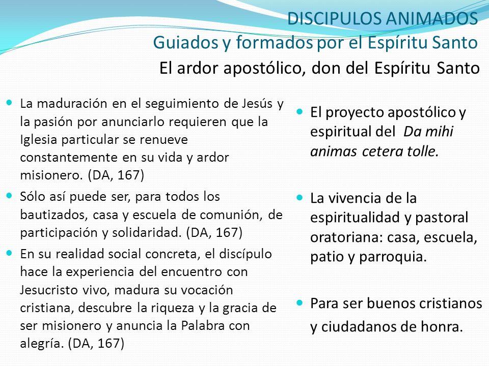 DISCIPULOS ANIMADOS Guiados y formados por el Espíritu Santo El ardor apostólico, don del Espíritu Santo La maduración en el seguimiento de Jesús y la