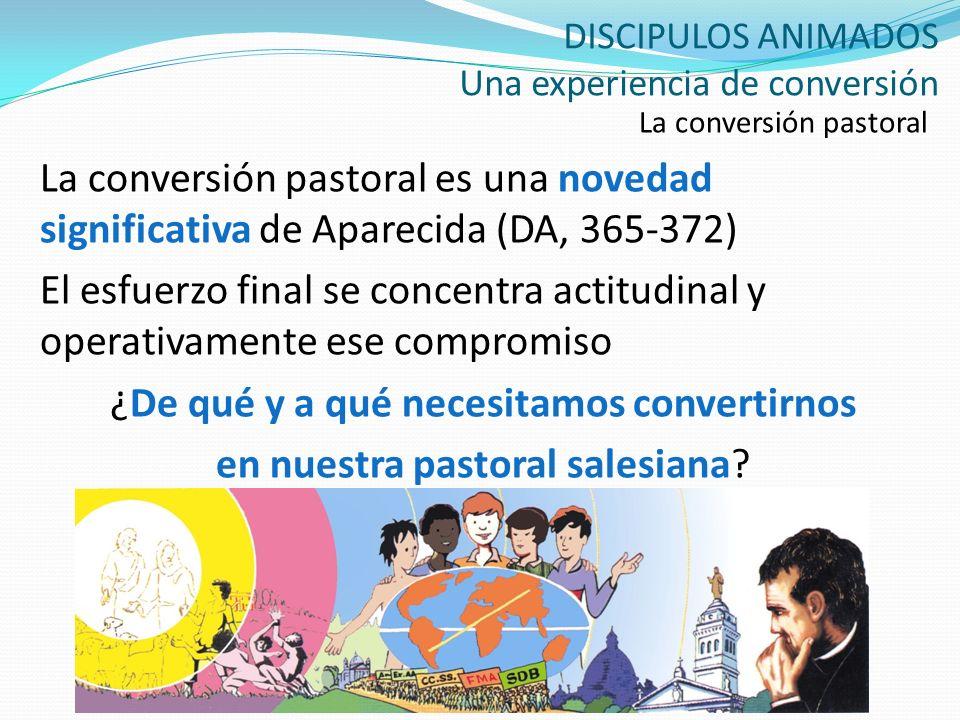 DISCIPULOS ANIMADOS Una experiencia de conversión La conversión pastoral La conversión pastoral es una novedad significativa de Aparecida (DA, 365-372