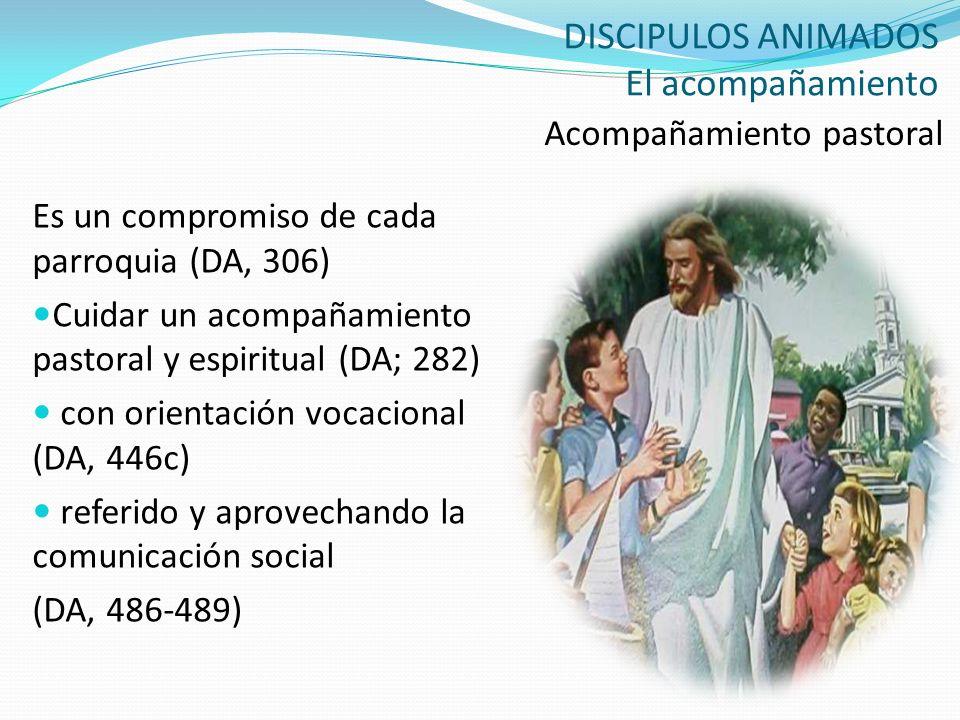 DISCIPULOS ANIMADOS El acompañamiento Acompañamiento pastoral Es un compromiso de cada parroquia (DA, 306) Cuidar un acompañamiento pastoral y espirit