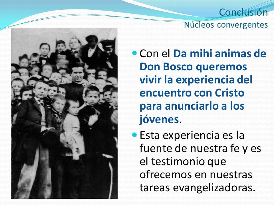 Conclusión Núcleos convergentes Con el Da mihi animas de Don Bosco queremos vivir la experiencia del encuentro con Cristo para anunciarlo a los jóvene