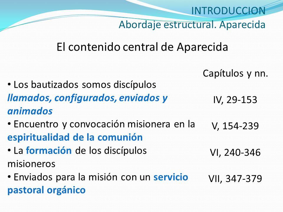 INTRODUCCION Abordaje estructural. Aparecida El contenido central de Aparecida Los bautizados somos discípulos llamados, configurados, enviados y anim