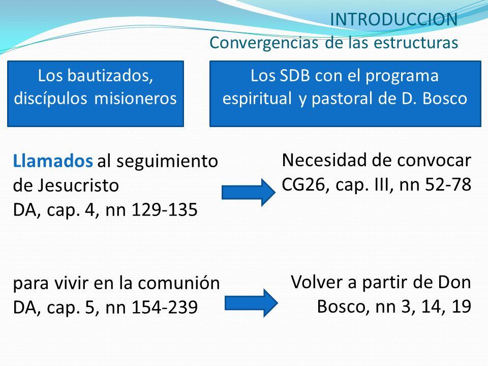 INTRODUCCION Convergencias de las estructuras Llamados al seguimiento de Jesucristo DA, cap. 4, nn 129-135 para vivir en la comunión DA, cap. 5, nn 15