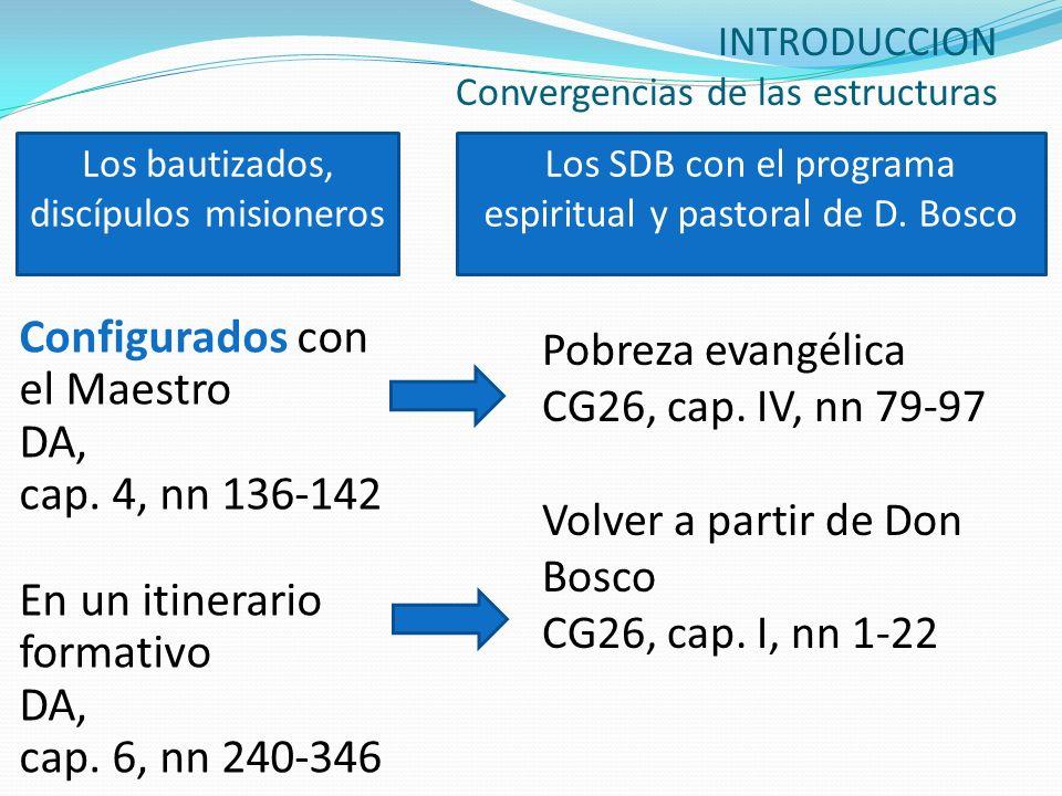 INTRODUCCION Convergencias de las estructuras Configurados con el Maestro DA, cap. 4, nn 136-142 En un itinerario formativo DA, cap. 6, nn 240-346 Pob