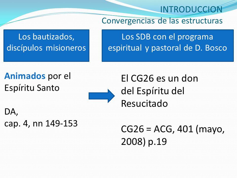 INTRODUCCION Convergencias de las estructuras Animados por el Espíritu Santo DA, cap. 4, nn 149-153 El CG26 es un don del Espíritu del Resucitado CG26