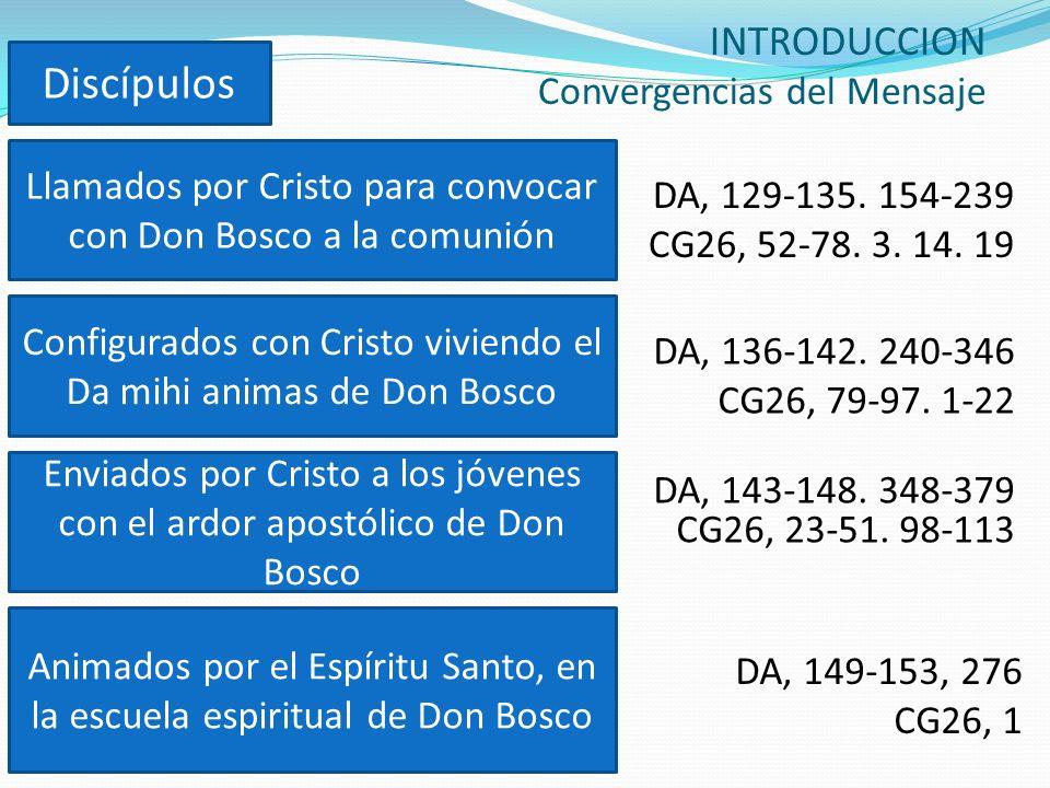INTRODUCCION Convergencias del Mensaje DA, 149-153, 276 CG26, 1 Llamados por Cristo para convocar con Don Bosco a la comunión Configurados con Cristo