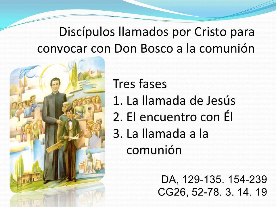 Discípulos llamados por Cristo para convocar con Don Bosco a la comunión Tres fases 1. La llamada de Jesús 2. El encuentro con Él 3. La llamada a la c