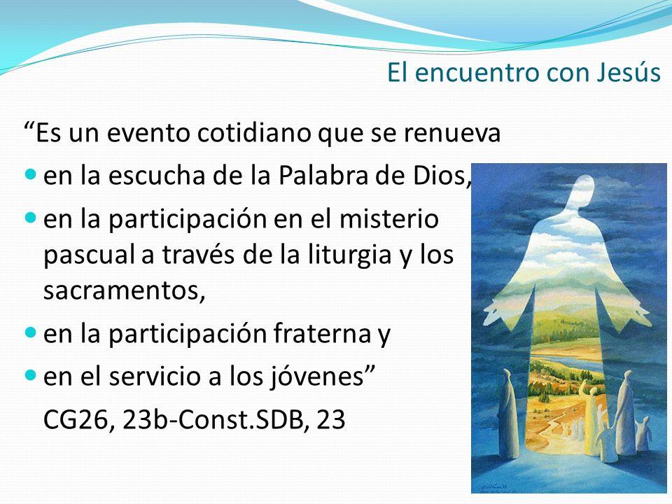 El encuentro con Jesús Es un evento cotidiano que se renueva en la escucha de la Palabra de Dios, en la participación en el misterio pascual a través