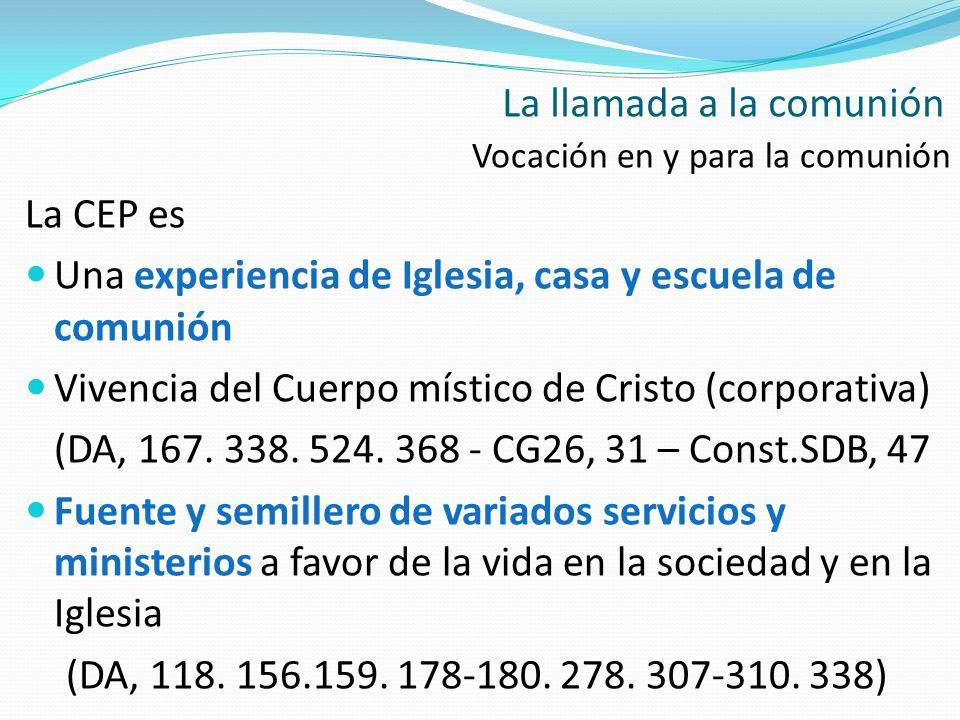 Vocación en y para la comunión La CEP es Una experiencia de Iglesia, casa y escuela de comunión Vivencia del Cuerpo místico de Cristo (corporativa) (D