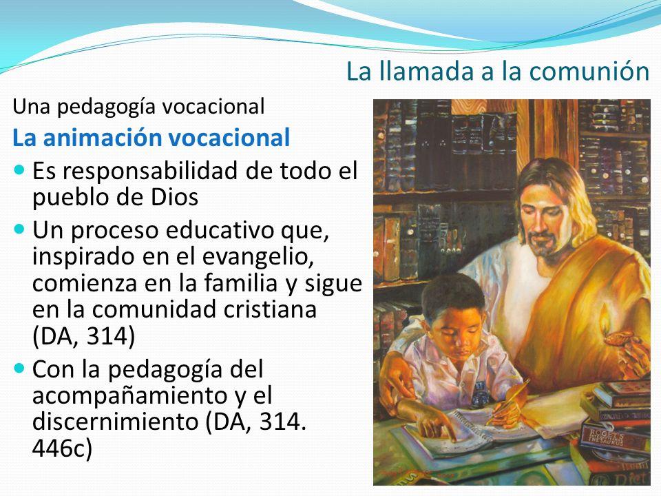Una pedagogía vocacional La animación vocacional Es responsabilidad de todo el pueblo de Dios Un proceso educativo que, inspirado en el evangelio, com