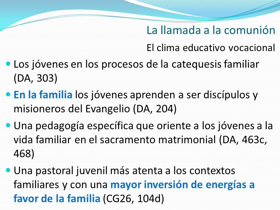 El clima educativo vocacional Los jóvenes en los procesos de la catequesis familiar (DA, 303) En la familia los jóvenes aprenden a ser discípulos y mi