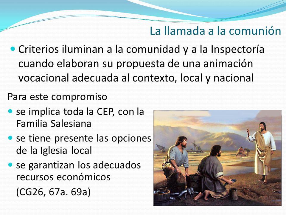 Criterios iluminan a la comunidad y a la Inspectoría cuando elaboran su propuesta de una animación vocacional adecuada al contexto, local y nacional L