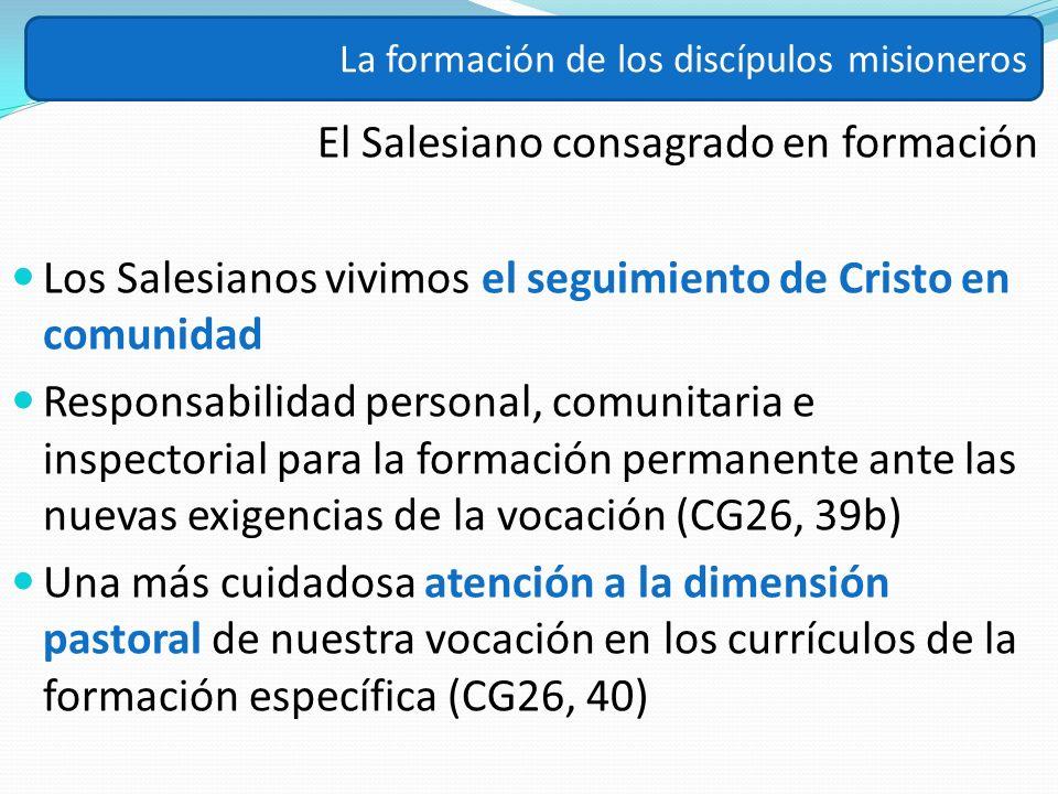 El Salesiano consagrado en formación Los Salesianos vivimos el seguimiento de Cristo en comunidad Responsabilidad personal, comunitaria e inspectorial