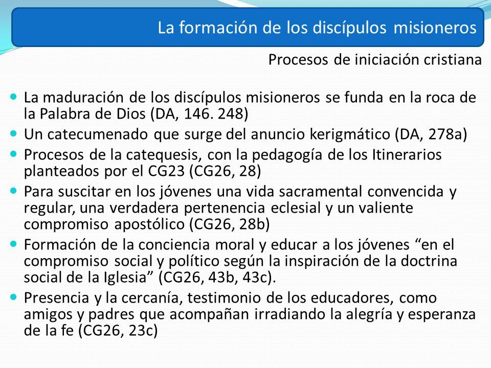 Procesos de iniciación cristiana La maduración de los discípulos misioneros se funda en la roca de la Palabra de Dios (DA, 146. 248) Un catecumenado q