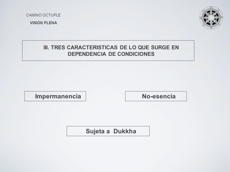 CAMINO OCTUPLE VISIÓN PLENA ImpermanenciaNo-esencia Sujeta a Dukkha III. TRES CARACTERISTICAS DE LO QUE SURGE EN DEPENDENCIA DE CONDICIONES