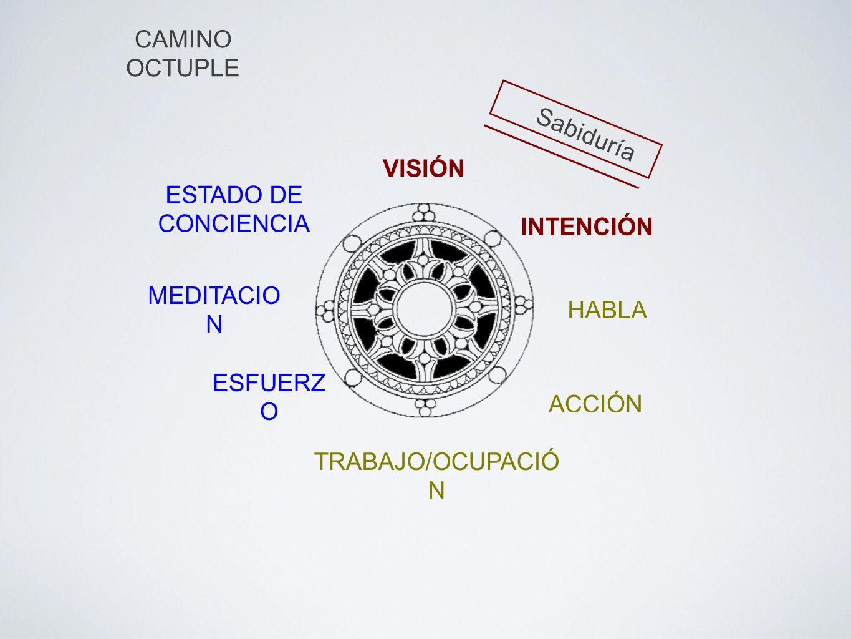 CAMINO OCTUPLE VISIÓN INTENCIÓN HABLA ACCIÓN ESFUERZ O MEDITACIO N ESTADO DE CONCIENCIA TRABAJO/OCUPACIÓ N Sabiduría