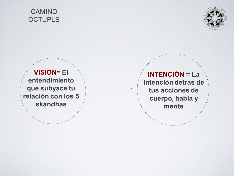 CAMINO OCTUPLE INTENCIÓN = La intención detrás de tus acciones de cuerpo, habla y mente VISIÓN= El entendimiento que subyace tu relación con los 5 ska