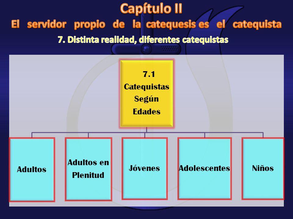7.1 Catequistas Según Edades Adultos Adultos en Plenitud JóvenesAdolescentesNiños