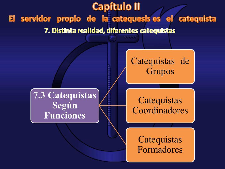 7.3 Catequistas Según Funciones Catequistas de Grupos Catequistas Coordinadores Catequistas Formadores